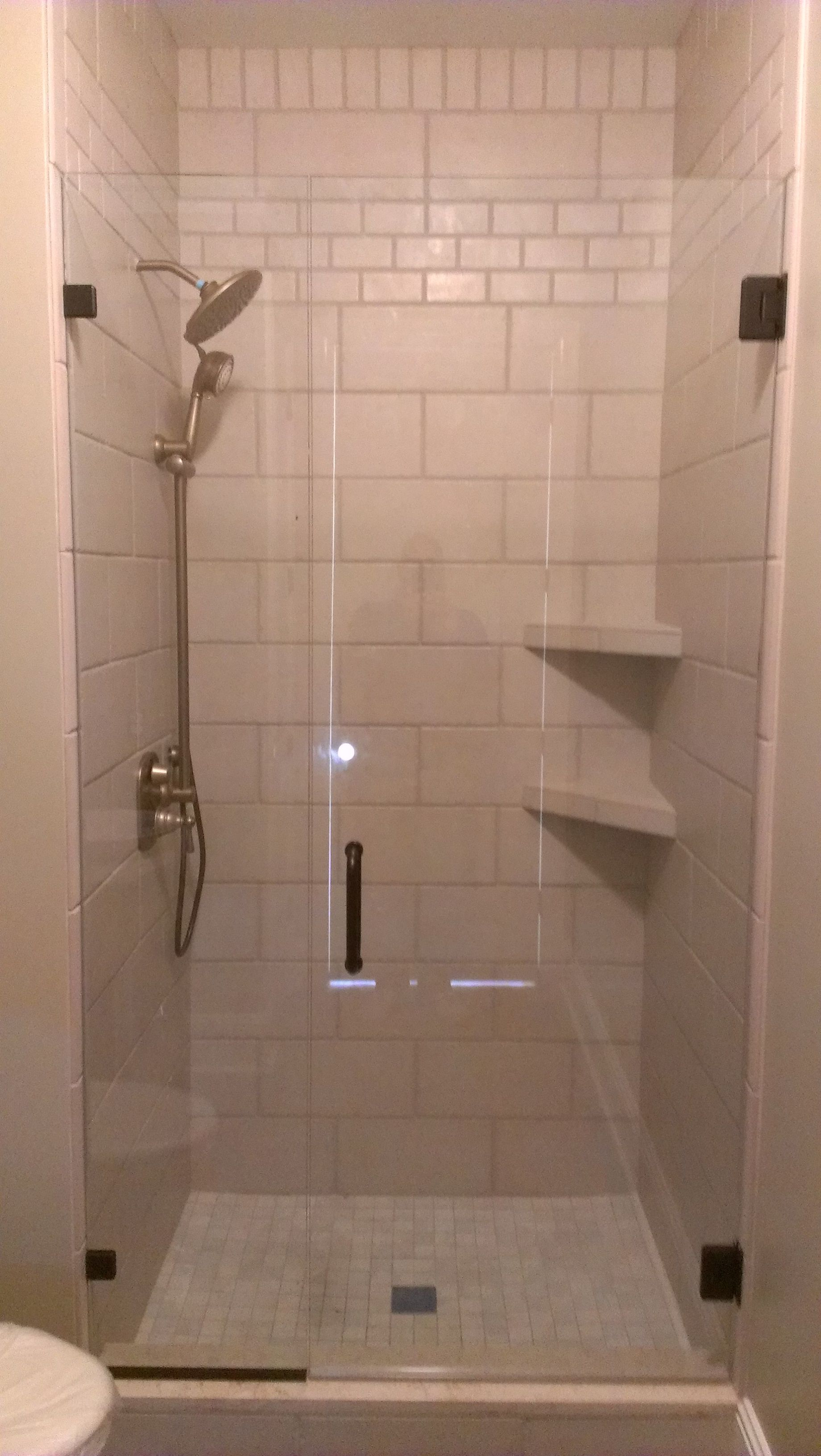 Tile Shower Tile Shower With Corner Shelves And Inlays #18 Tiled ...