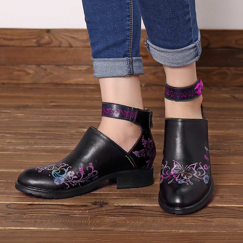 745827c87ea SOCOFY Casual Cow Leather Hand Painted Butterfly Flower Pattern Zipper Soft  Flat Shoes For Women