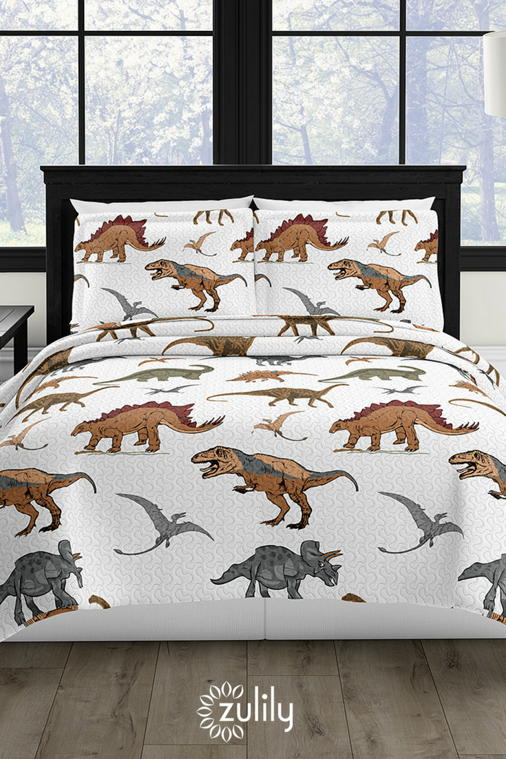 How Fun Is This Dinosaur Reversible Quilt Set Only 18 99 Onzulilytoday Revamp Their Room With This Prehistoric Quilt Set Featuring A Reversible Design That