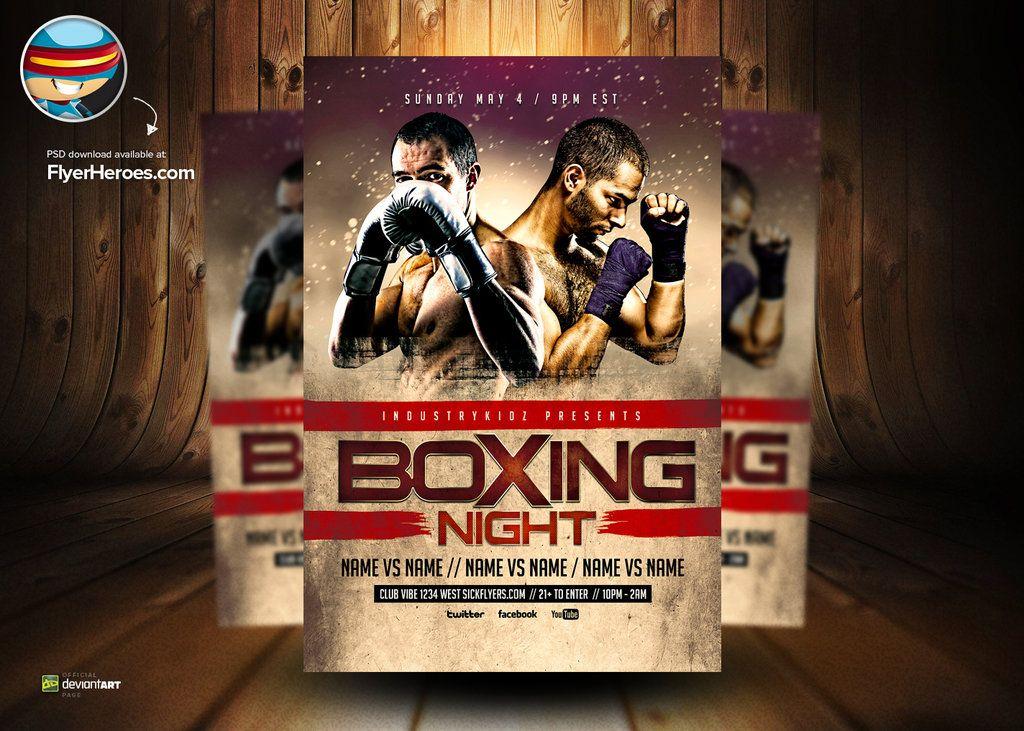 Boxing Night PSD Flyer Template by flyertemplates Plantillas - ufc flyer template