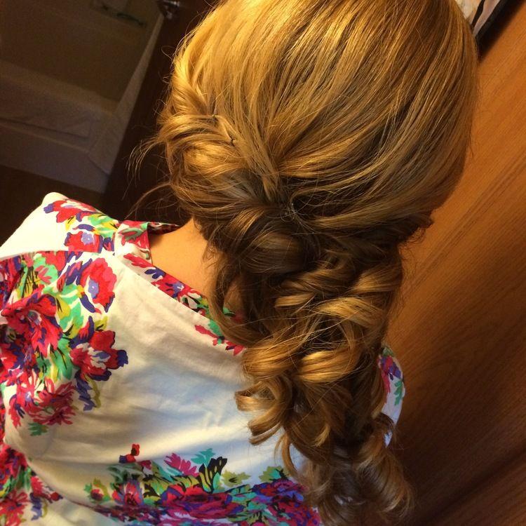 side pony curled, wedding bridesmaid up-do