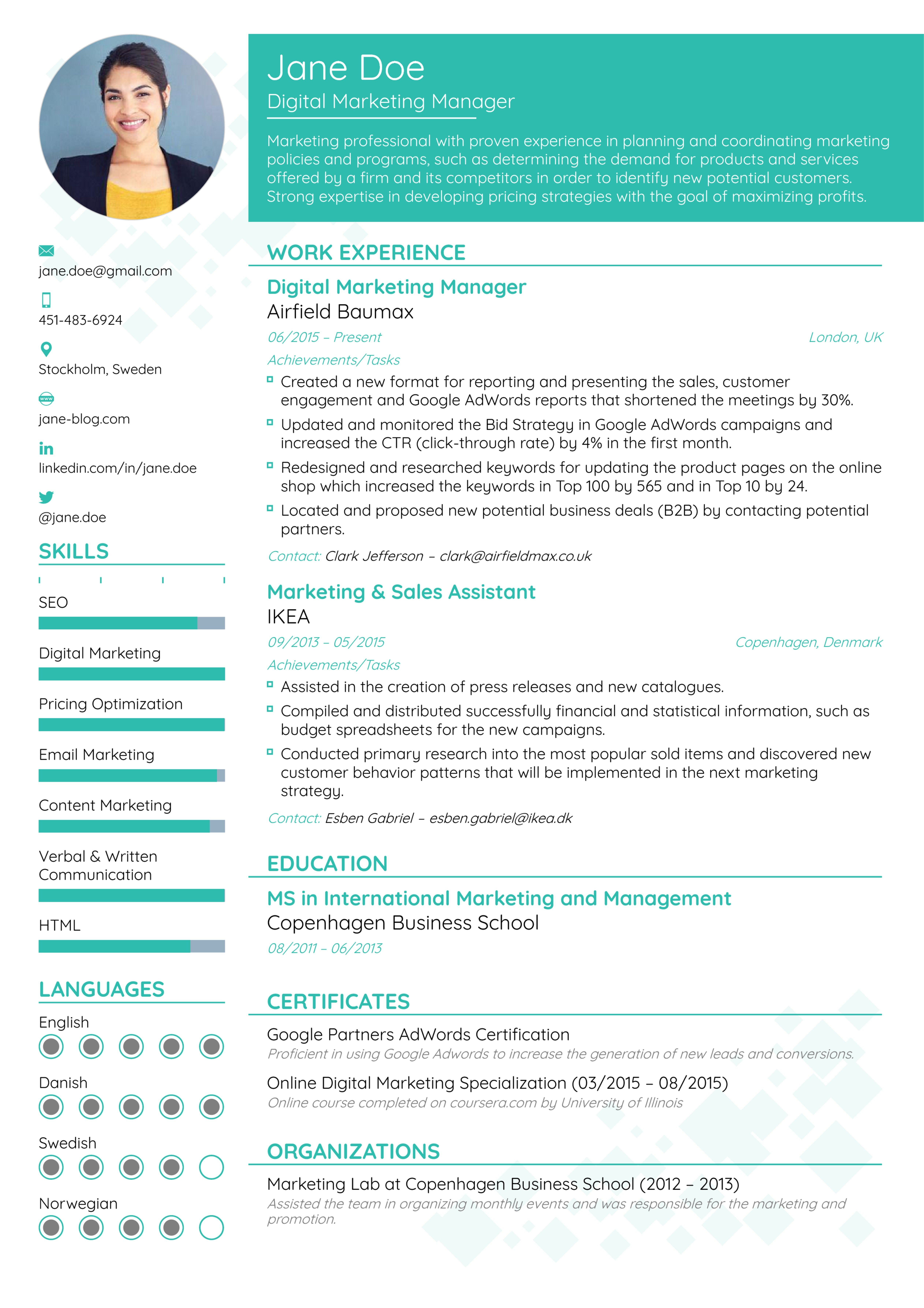 The Best Ideas For Resume Styles 2019 Best Resume Format Marketing Resume Latest Resume Format