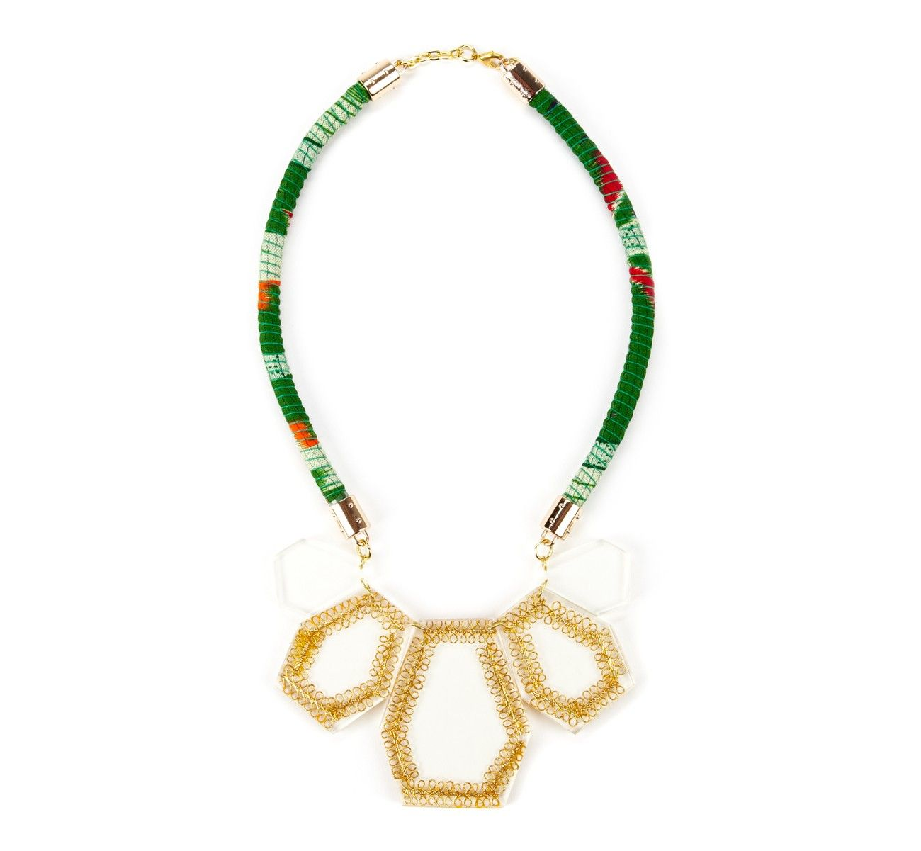 {Lucite Green Tribal Necklace} Sole Society - handcrafted; no two are alike