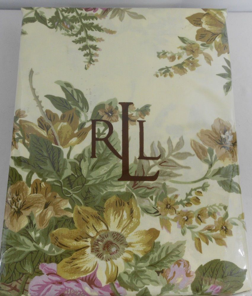 Ralph Lauren Brittany Cotton Tablecloth NIP 60 X 104 Spring Colors Oblong # RalphLauren
