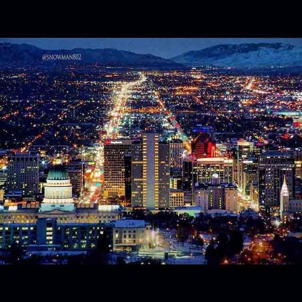 Salt Lake City Utah Skyline At Night City Life Midwest