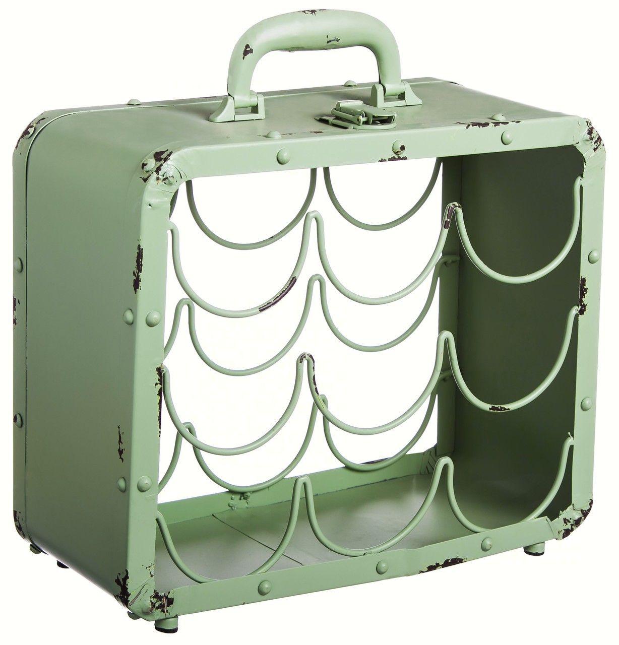 Evergreen Enterprises Antique Green Metal Suitcase Wine Rack EG8WCM004 - CantonWay.com