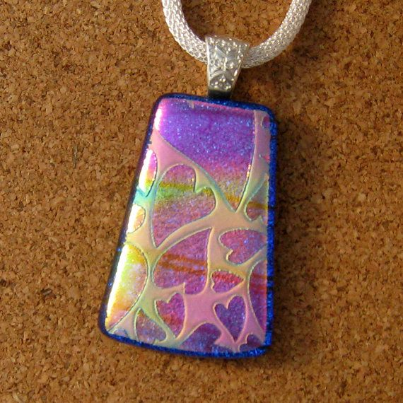 Fused Glass Jewelry Pink Necklace Included Golden Pink Purple Necklace A5 Dichroic Glass Pendant