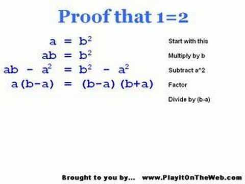 1 2 Proof Prove All Math Wrong Stump Your Math Teacher Math Teacher Teacher Puzzles And Answers