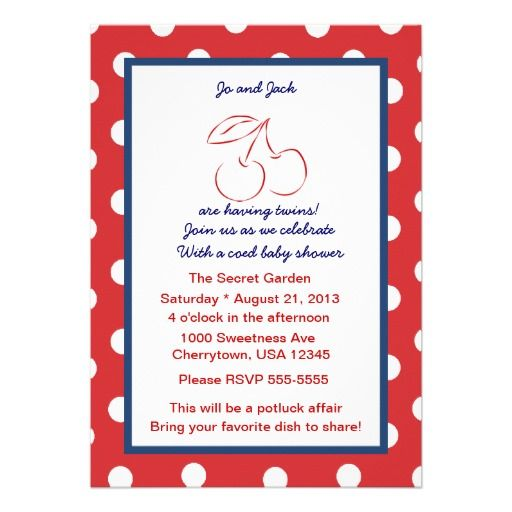 Cherries Jubilee Twins Baby Shower Announcement