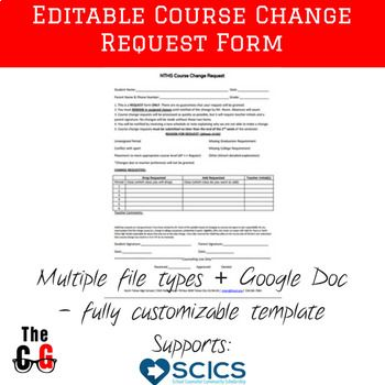 Free Editable High School Or Middle School Course Request Change