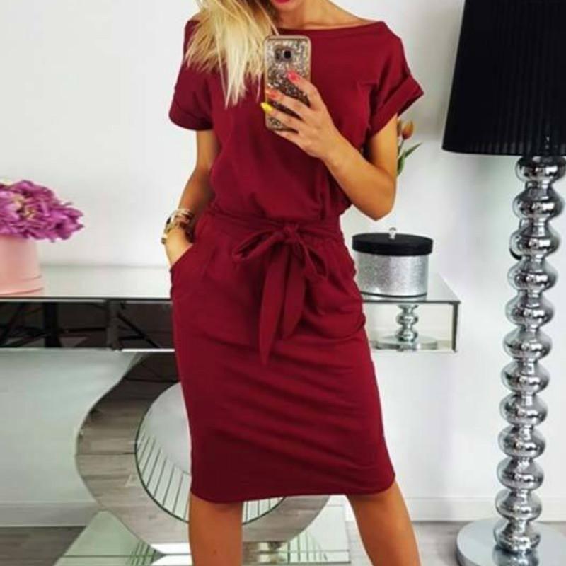32fc80eae5 Summer Women Dress Knee-Length Bandage Bodycon Short Sleeve Casual Dresses  Sundress