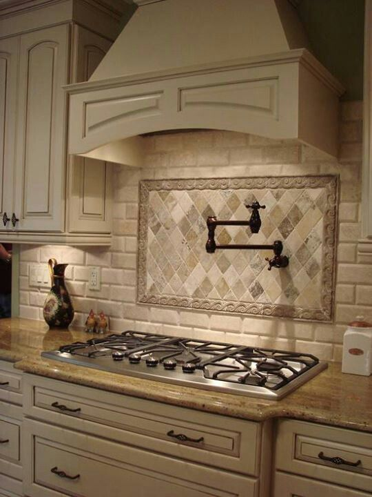 Stove Faucet Backsplash Contrast Custom Cabinets Kitchen