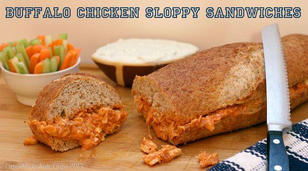Buffalo Chicken Sloppy Sandwich | @CupcakeKaleChip #buffalochicken #sandwich #superbowl