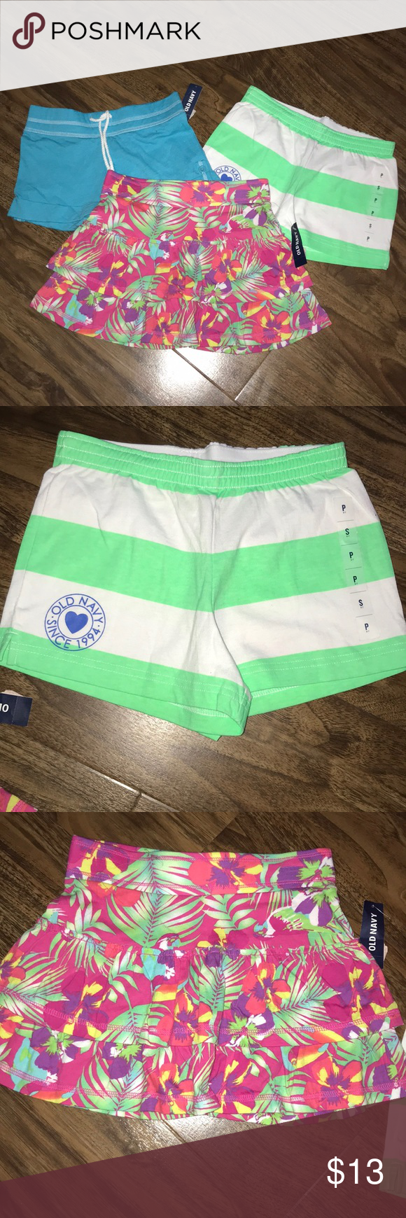 aeef0138192d5 NWT Lot/3 Shorts New with tags. Girls shorts. Lime green & white ...