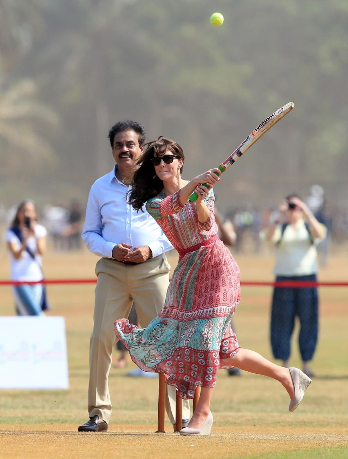 Kate Middleton took to the field to show off her impressive swing while playing cricket in heels on April 10, 2016.