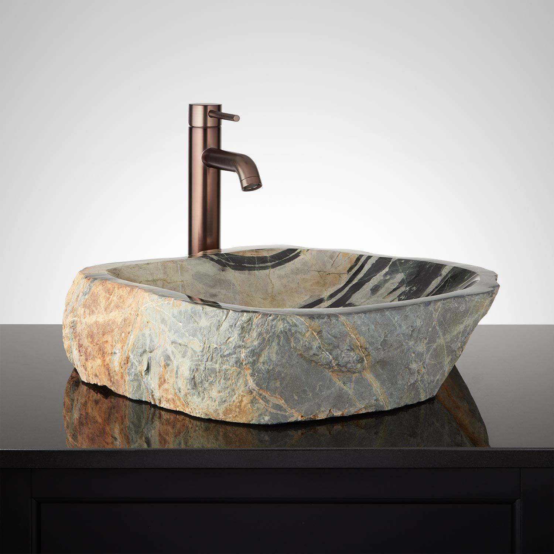 Klamath Black River Stone Vessel Sink Vessel Sinks Bathroom Sinks Bathroom Stonevesselbathroomsinks Stone Vessel Sinks Bathroom Sink Bowls Sink