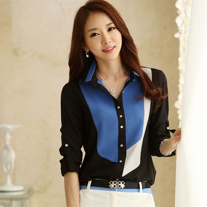 Fashion Sale Women 39 S Office Tops 2014 Autumn New Korean Style Color Block Collar Long Sleeve