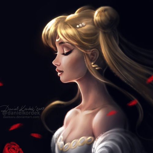 Profile of Princess Serenity from Sailor Moon. This time in a bit different style.. ;)