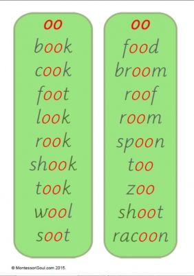 oo and oo word lists