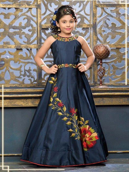 e6b748ea77908 Navy Hue Designer Silk Fabric Gown,designer gowns for girls, latest ...
