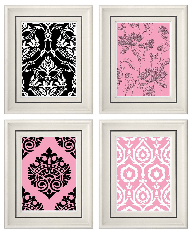 Set Of Four Modern Vintage Pink Black Wall Art