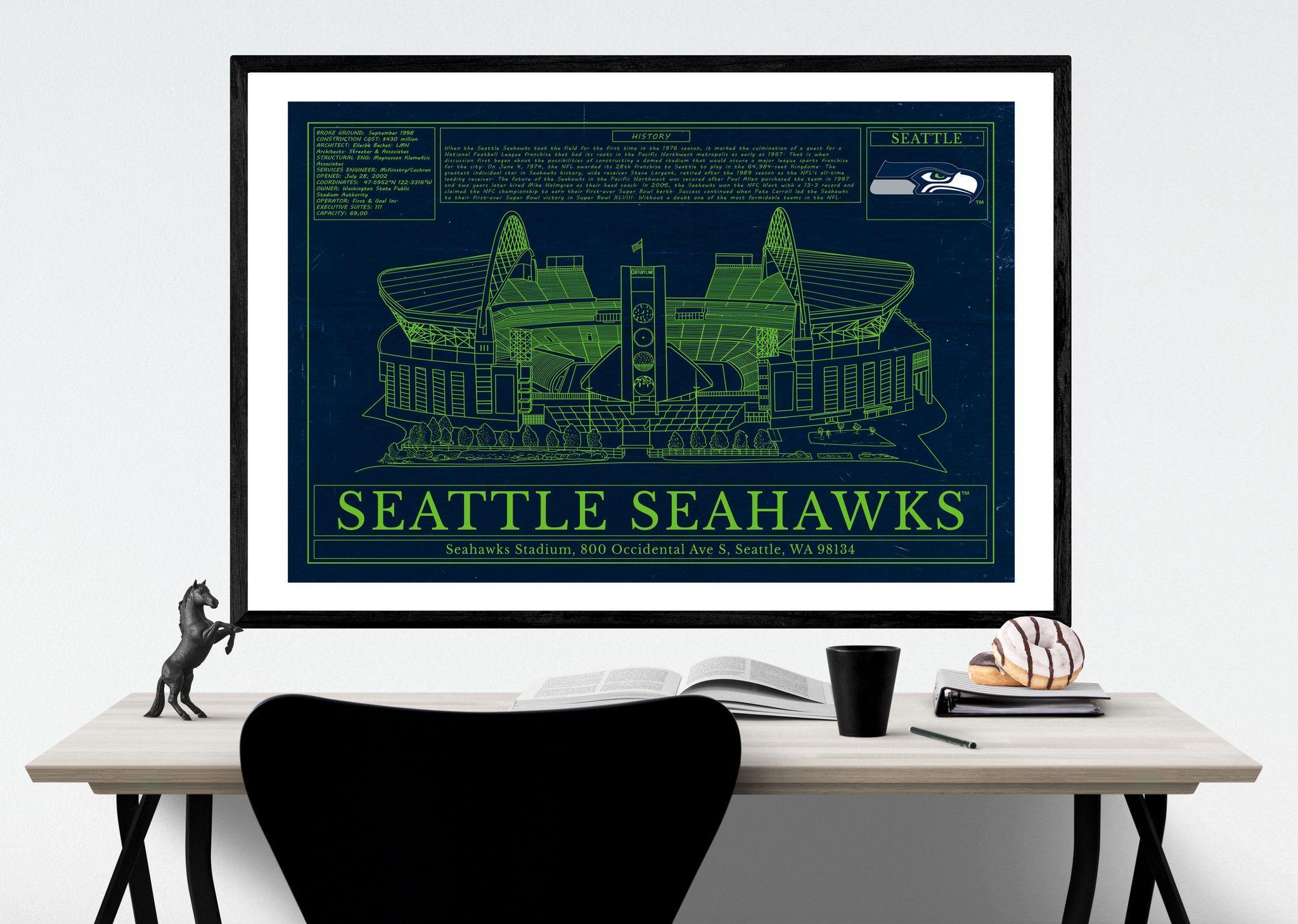 Unique NFL Stadium Blueprint - Seattle Seahawks CenturyLink Field ...