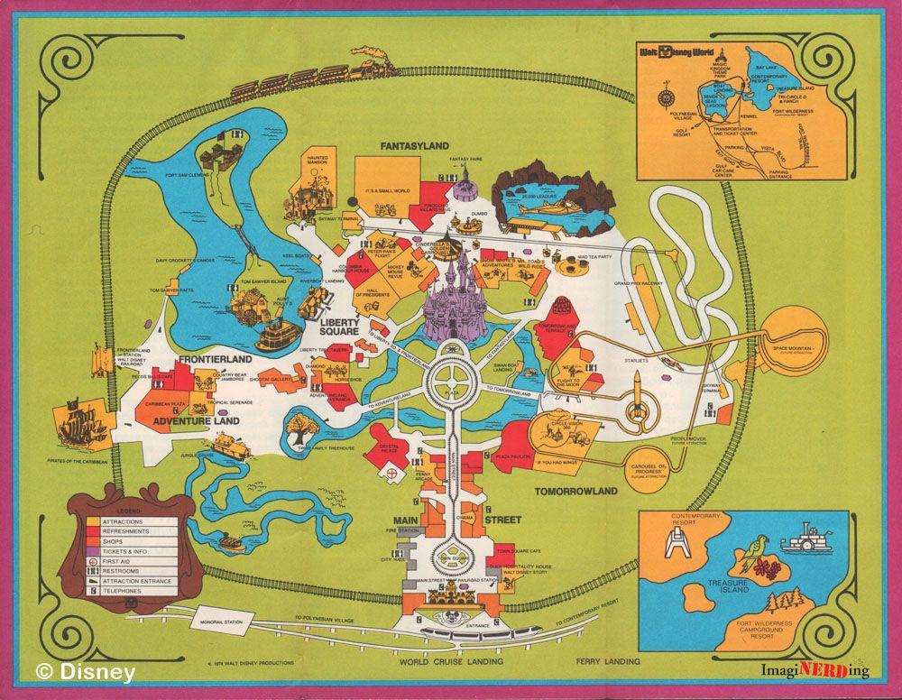 Magic Kingdom 1974 Disney Maps Pinterest Disney The magic and The o