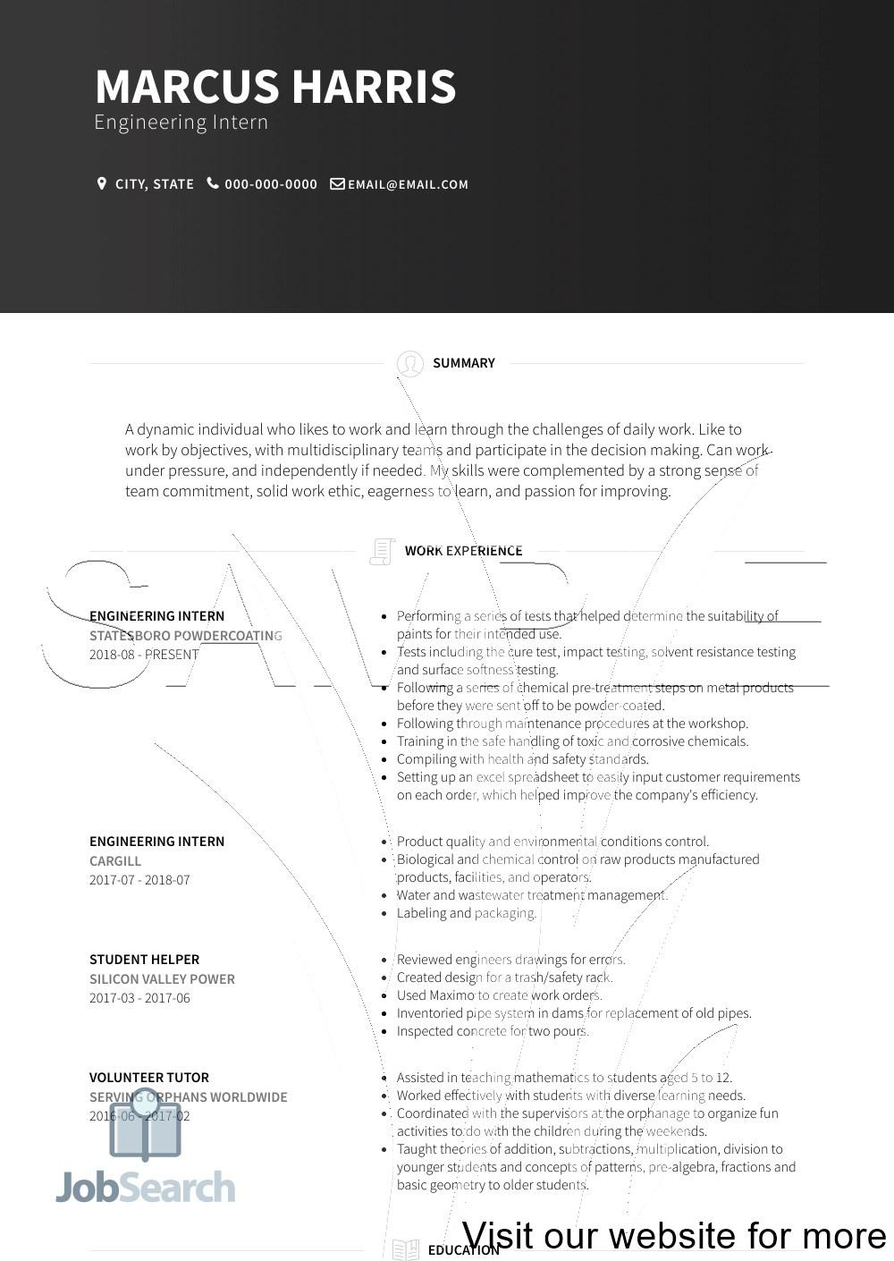 Resume for Engineering Internship Students Resume