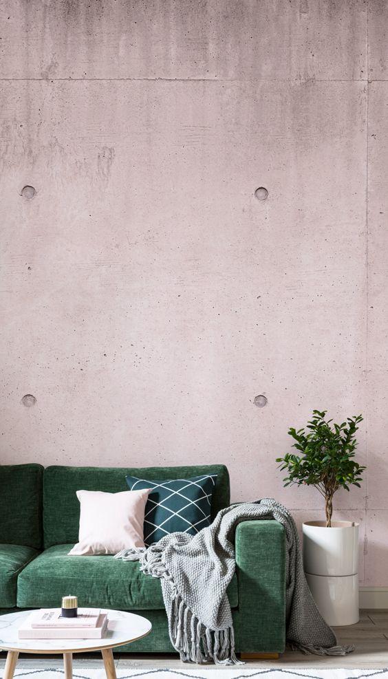 Pink Modern Concrete Block Wallpaper Mural Murals Wallpaper In 2020 Minimalist Bedroom Small Interior Design Bedroom Interior