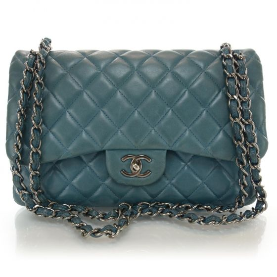 5cf805d07f53 This is an authentic CHANEL Lambskin Quilted Jumbo Double Flap in  Turquoise. The classic features and exceptional quality of this Chanel  shoulder bag lend a ...