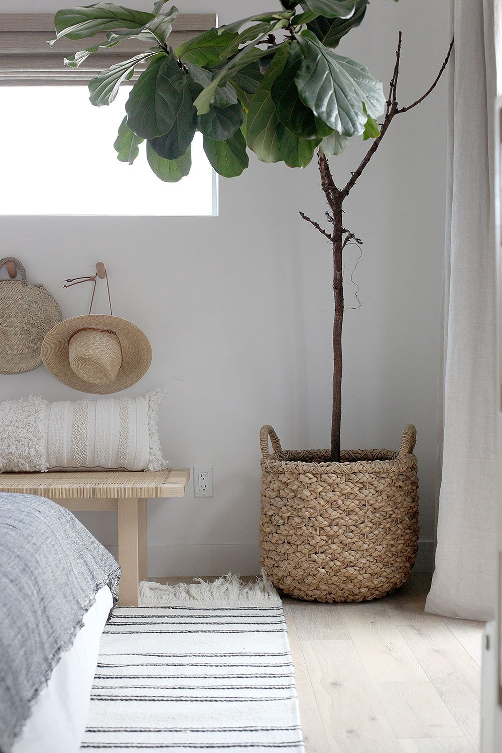 Striped Boho Area Rug Bench At The End Of The Bed Fig
