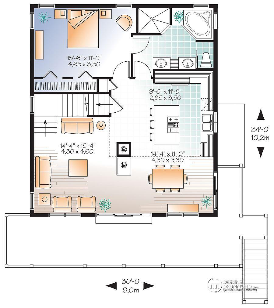 Détail du plan de maison unifamiliale w3938 v1