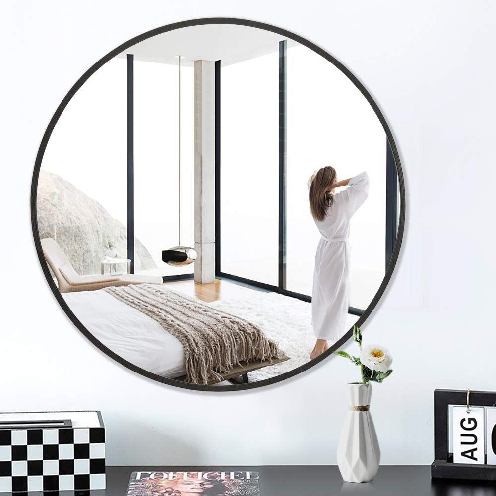 Pexfix Round Wall Mirror With Metal Frame 32 Inch Large Round Mirror Decorative Mirror Wall Mounted Mirror Mirror Decor Large Round Mirror Round Wall Mirror