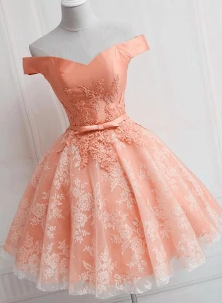 Cute Off the Shoulder Short Homecoming Dress, Love