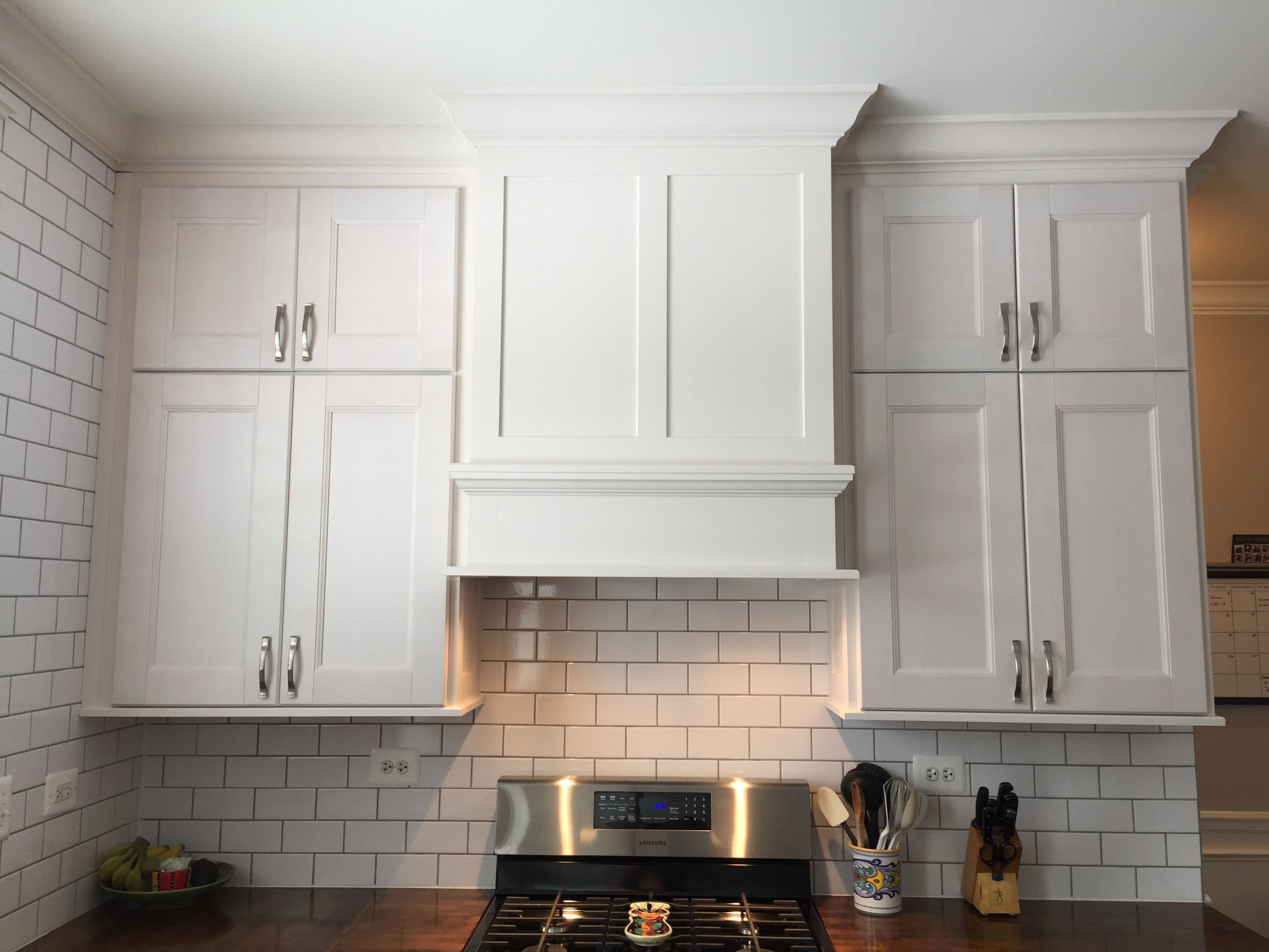 After Picture Of Kitchen With Butcher Block Counter Top Crown Molding White Upper Cabinets With Gra Kitchen Projects Butcher Block Countertops Upper Cabinets