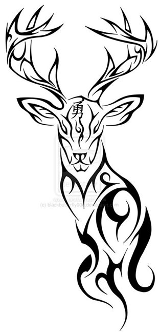 Has Courage On The Forehead Deer Tattoo Tribal Tattoos Stag Tattoo