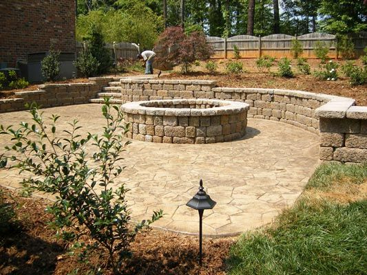 Land Scape With Stamped Concrete And Retaining Wall | Landscaping ...