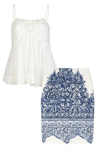 J.Crew No. 2 printed cotton-blend piqué pencil skirt, Current/Elliott The Lacey cami