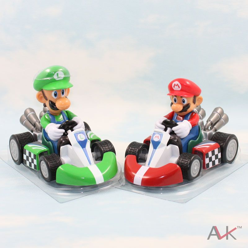 Free Shipping Hot Sale Super Mario Bros Kart Car Mario Luigi Kart Racing Car Pvc Toys 4 10cm Set Of 2 Inaction To Mario And Luigi Super Mario Bros Mario Bros
