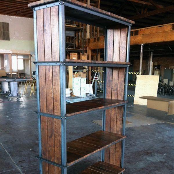 Biblioteca madera de palets y metal estanteria repisa - Como hacer repisas de madera ...