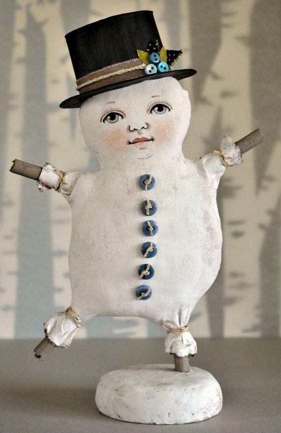 Dancing Snowman- Original Contemporary Folk Art Doll Christmas Winter Sculpture OOAK