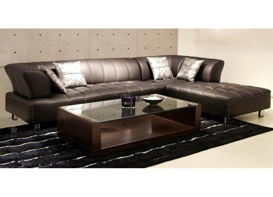 Vernon Modern Brown Leather Sectional Sofa House