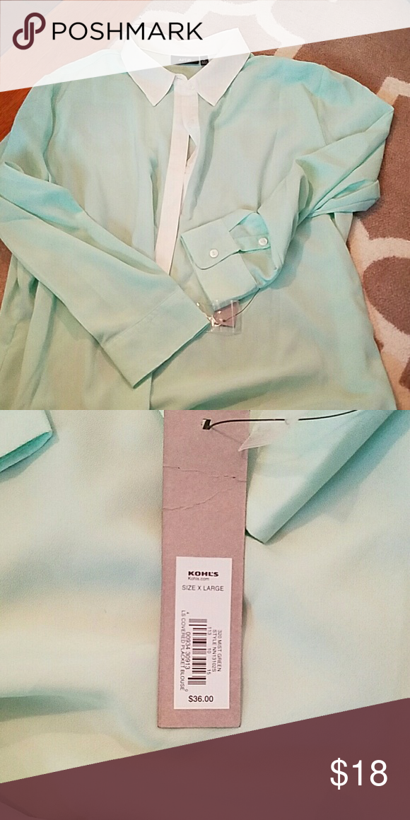 APT 9. mint and white blouse Sheer buttoned down blouse Apt. 9 Tops