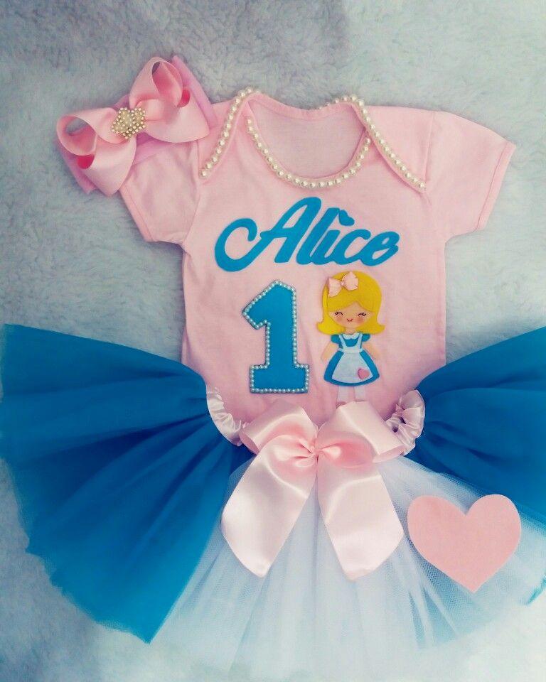 Body Personalizado Com Tutu Alice No Pais Das Maravilhas Azul E