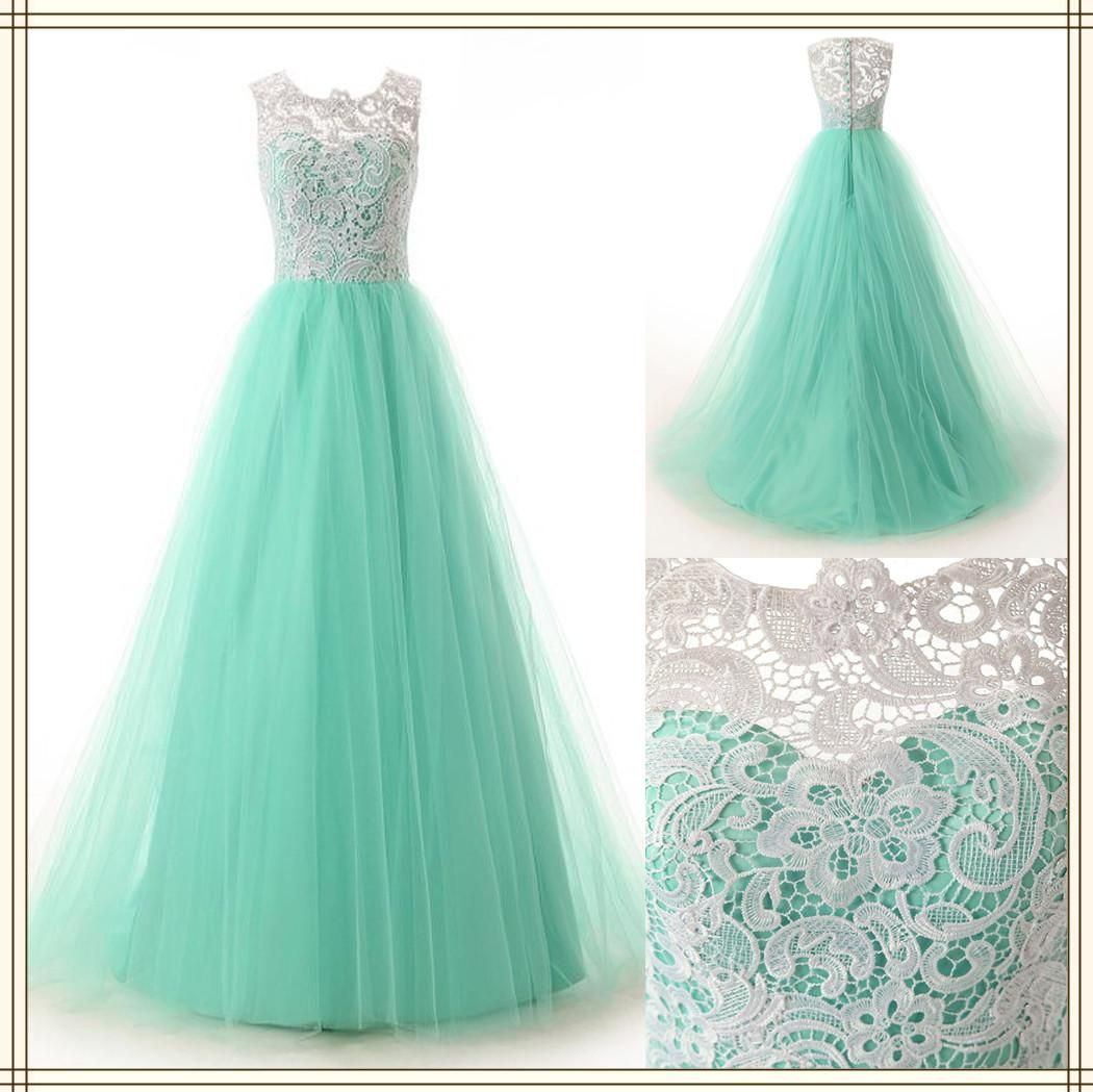 white lace mint green bridesmaid dresses long tulle