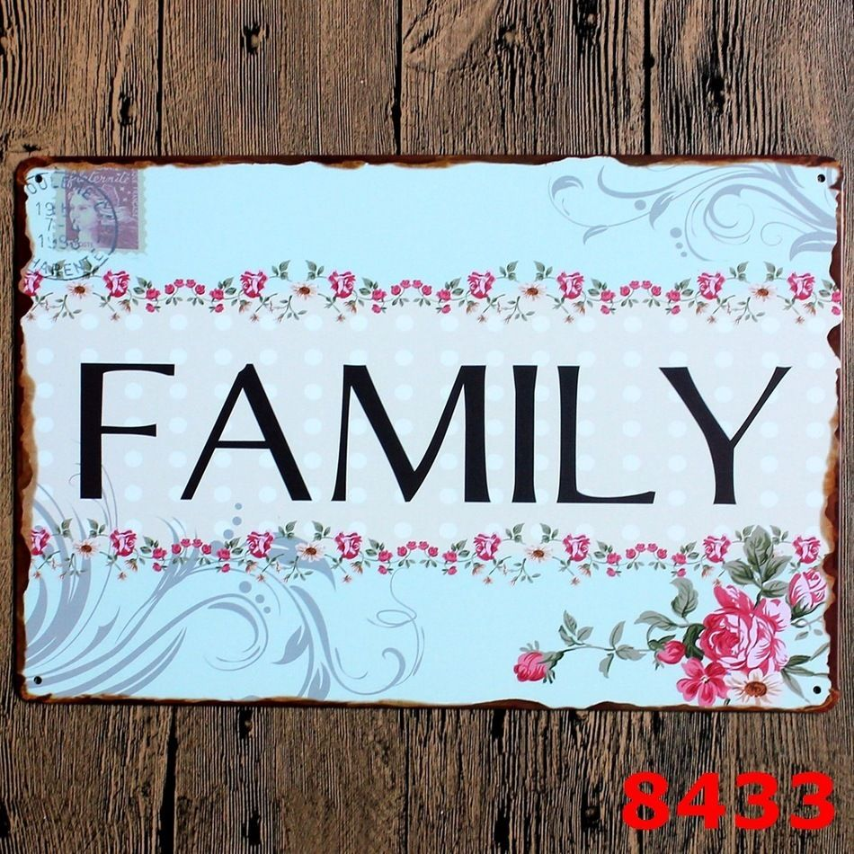 "Vintage Letters Wall Decor New High Quality Metal Painting Letters Signs "" Family "" Metal"
