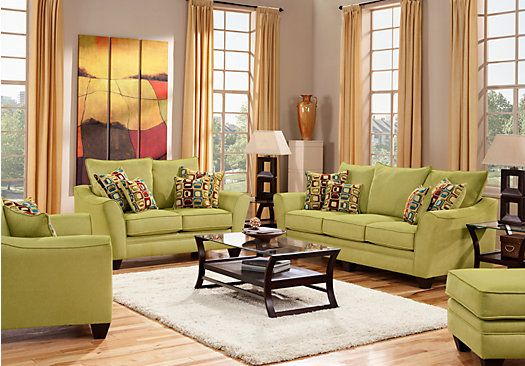 Santa Monica Green 7 Pc Living Room Classic Living Room Affordable Living Room Set Living Room Sets