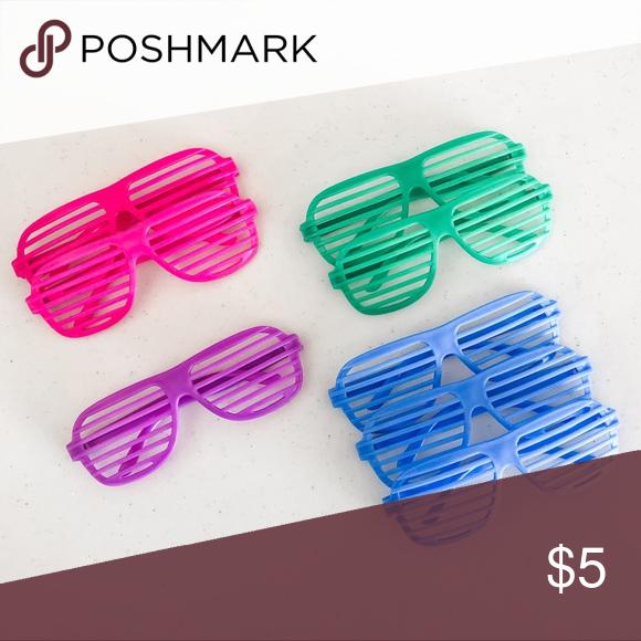 8 Pk Shutter Shades Party Glasses Blue Accessories Shutter Shades Stunna Shades
