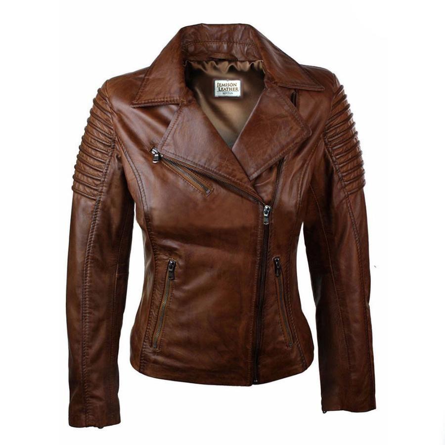 Jemison Leather Stylish Women Cross Jacket