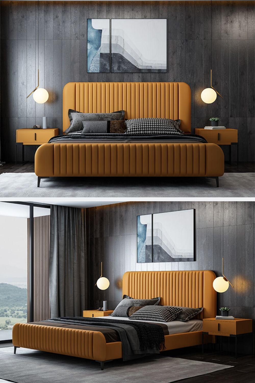 Unisex Decor - Orange Bed Frame Bedroom Home Decor Ideas in 8
